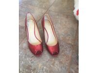 Clarks red peep toe heels size 5.5
