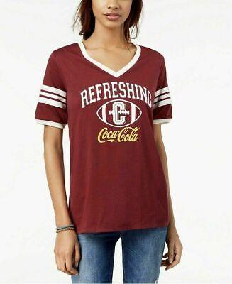 Freeze 24/7 Juniors' Burgundy Coca-Cola-Graphic Varsity V-Neck T-Shirt Size XL