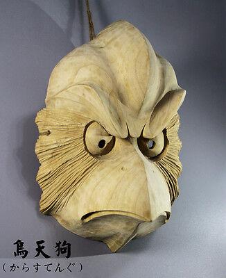 Hand Carved KARASUTENGU Mask Japanese Noh Kyougen Kagura Bugaku GAGAKU GIGAKU