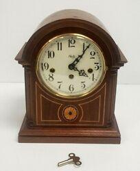 JUST SERVICED Sligh Cherry Mantle Clock with Franz Hermle Brass, Model 0519-2-CM