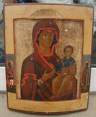 """Orig. russische Ikone """"Gottesmutter von Smolensk"""" um 1770-1800"""