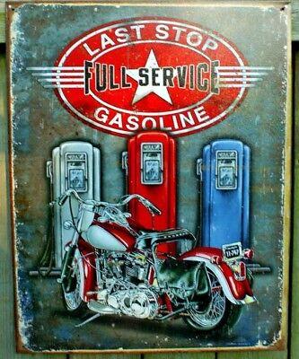 Retro Gas Pump Motorcycle Harley Metal Sign Picture Garage Shop Bar Decor Gift