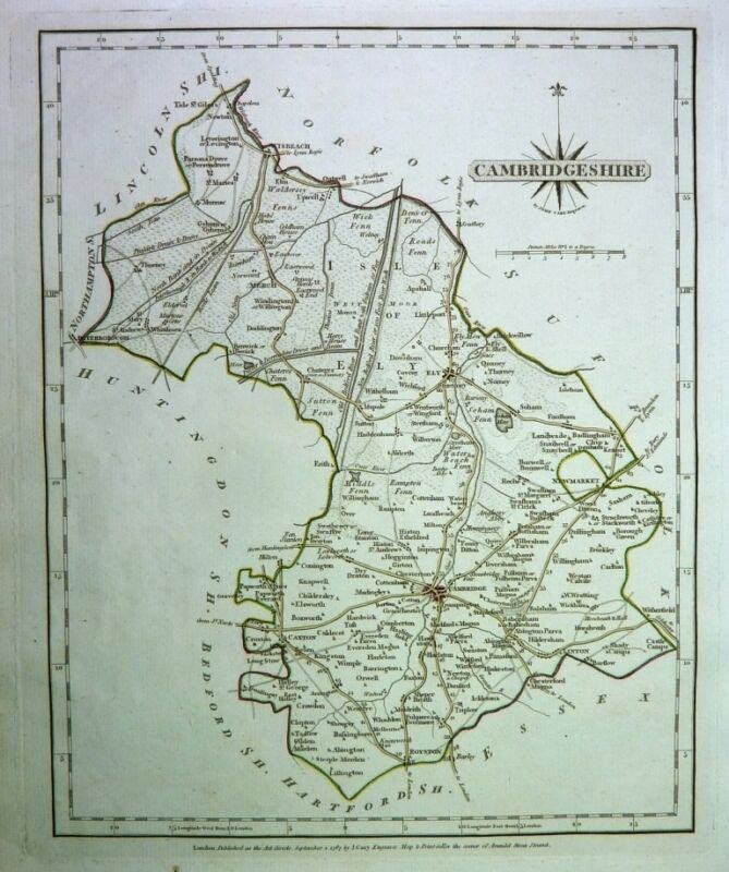 Antique map, Cambridgeshire ..