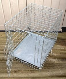 FOLDING METAL DOG CAGE (GALVANISED) L. 24 INCHES x WIDTH 18 INCHES x H. 20 INCHES