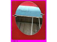 Bathroom Oval Mirror with silver nickel & antique gold tilting brackets for £ 25