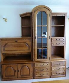 Wall unit plus two matching display shelves in medium oak finish