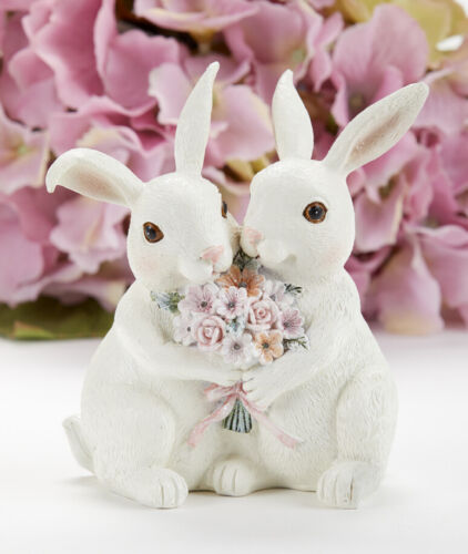 """New Spring Easter WHITE BUNNY COUPLE LOVE FLOWERS FIGURINE Statue Figure 4"""""""