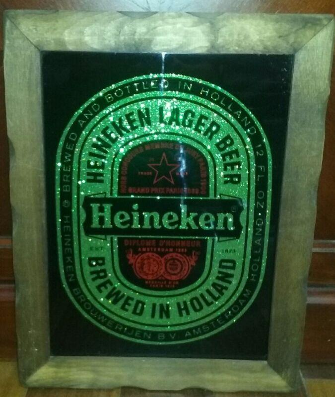 Vintage Heineken Beer Framed Glass Bar Sign