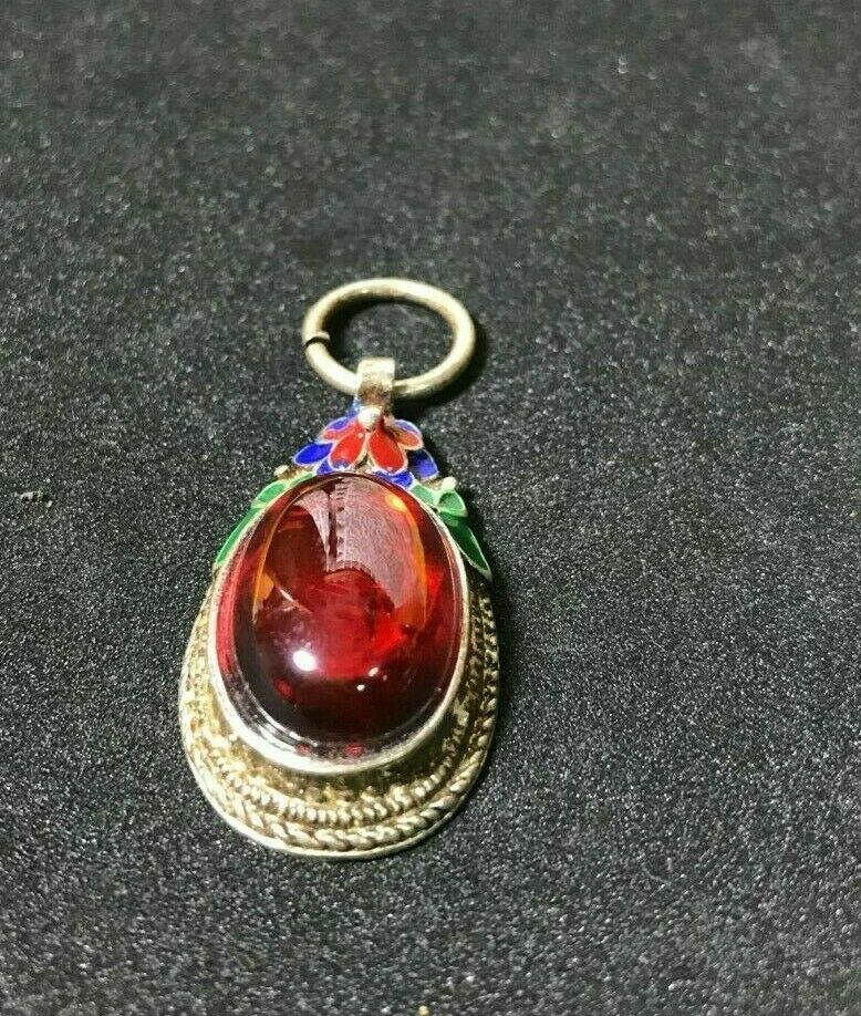 Naga Eye Amber Gem Pendant Talisman Thai Amulet Luck Love Charm Powerful Wealth