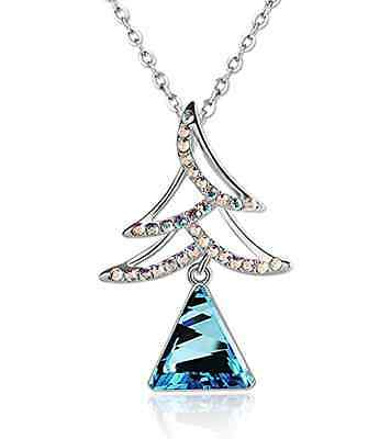 Pealrich Womens Christmas Tree Sapphire Necklace-Xmas Women Gifts ideas - Christmas Jewelry Ideas