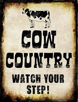 COW COUNTRY WATCH YOUR STEP METAL DECORATIVE PARKING SIGN