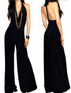 NEW-SEXY-VTG-BLACK-HALTER-MAXI-PALAZZO-DRESS-JUMPSUIT-OUTFIT-S-M-L