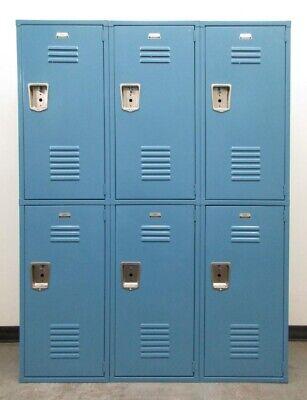 Used Large Blue Metal Lockers - 54wide X 18deep X 72high 6 Lockers A Set