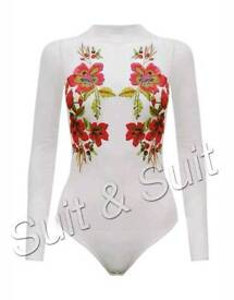 Womens Mesh Embroidered Bodysuit Size 10 BRAND NEW WITH TAGS