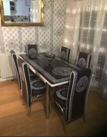 ❤️🇬🇧 DESIGNER STYLE GLASS EXTENDING TABLE WITH LEATHER 🪑☑️