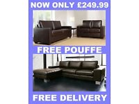 NERO CORNER SOFA OR ROMEO 3+2 LEATHER SOFA + FREE DELIVERY + POUFFE