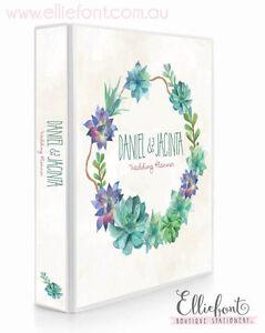 Personalised Wedding Planner/Diary/Book/Keepsake - watercolour succulents