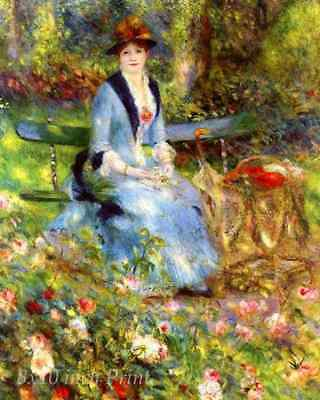 Among the Roses by Auguste Renoir - Woman Lady Flowers Garden 8x10 Print 1515
