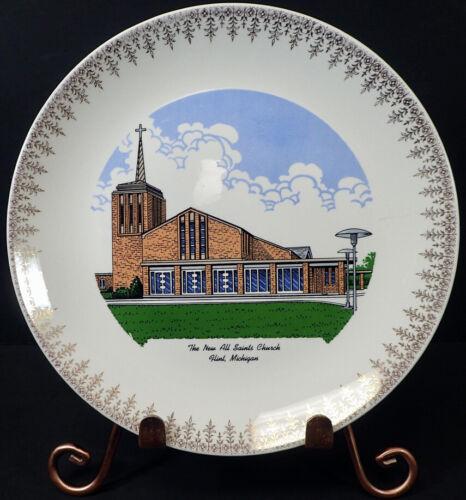 "The New All Saints Church Flint, MI Collector Plate 9"" World Wide Art Studios"