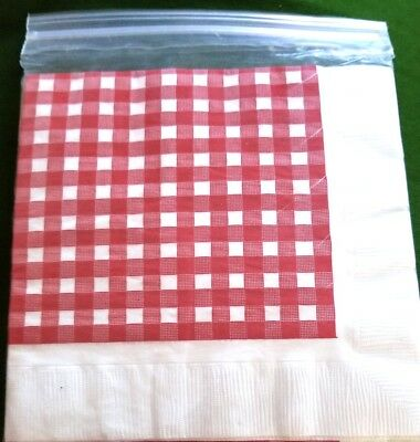 Handy 3ply Red Checkered Picnic Style Napkins - Red Checkered Napkins
