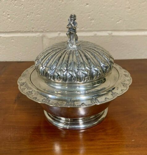 Exceptional Shreve Brown & Co Boston Coin Silver Serving Dish Butter Dish