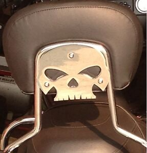 Harley skull backrest mounting plate fits touring bikes Road King Street Glide