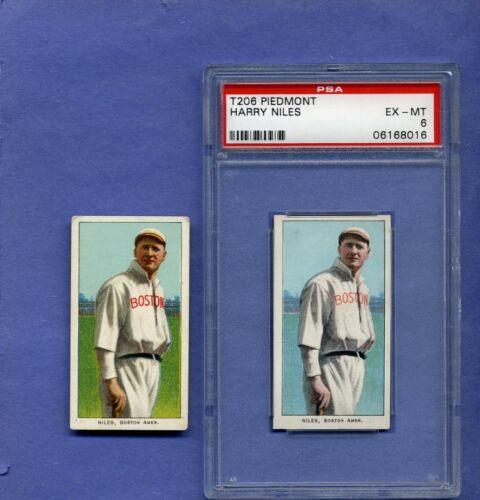 1909 T206 Tobacco Niles Blue Outfield Printing Color Error Rare! Psa Ex-mt 6