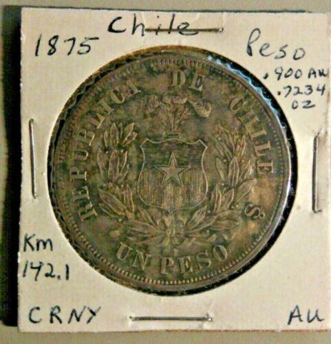 1875 Chile Silver Peso KM 142.1