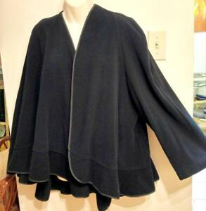 Womens Wool Swing Jacket One Arm & Cape Black by Cactus L Ruffles Fall AutumnCape Coat Large 14  LOOSE DOLMAN Maternity