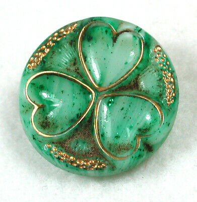 """Vintage Intermix Glass Button with Gold Luster Hearts Design - 11/16"""""""