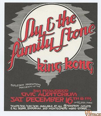 Sly and the Family Stone 1972 Dec 16 SF Civic Auditorium Handbill