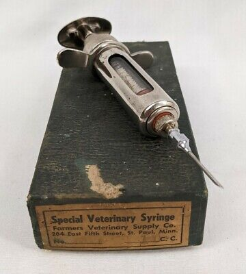 Vintage Dairy Cattle Large Veterinary Syringe Steampunk Chrome Glass Cosplay