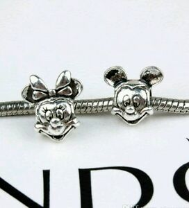 Minnie and mickey mouse charms, twin pack, pandora disney 925 ale stamped