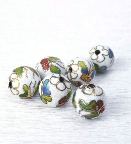 Vintage White with Mixed Color Butterflies Cloisonne Chinese Enamel 10mm 6Beads