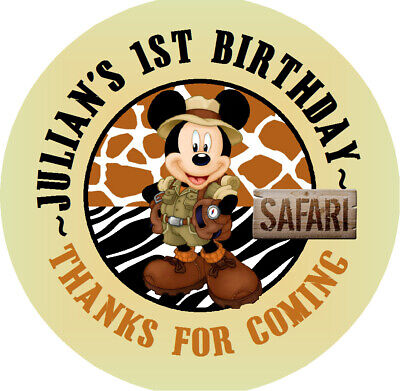 MICKEY SAFARI CUSTOM BIRTHDAY ROUND PARTY STICKERS ROUND LABELS FAVORS ALL SIZES