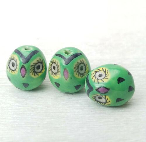 Hand Painted Porcelain Owl Bird Shaped Green CUTE! BEADS 16x14mm 3Pcs
