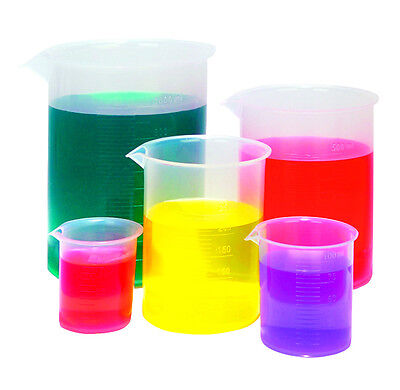 Karter Scientific Graduated Plastic Beaker Set 50 100 250 500 1000 Ml