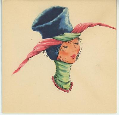 VINTAGE 1940'S FASHION MODEL BEAVER HAT BEEHIVE SHAPE GIRL NEW YORK CARD PRINT