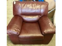 DFS RED BURGUNDY ARMCHAIR SOFA LEATHER Our Price £80 New with Tags Ex display
