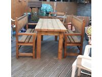 Hand Made garden Table and Bench set