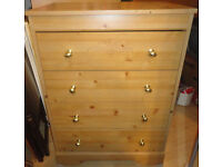 GOOD CONDITION, A NICE PINE EFFECT CHEST OF 4