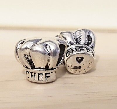 2P CHEF Hat Beads COOKING LOGO Stamped European Spacer Charms Gift for Best