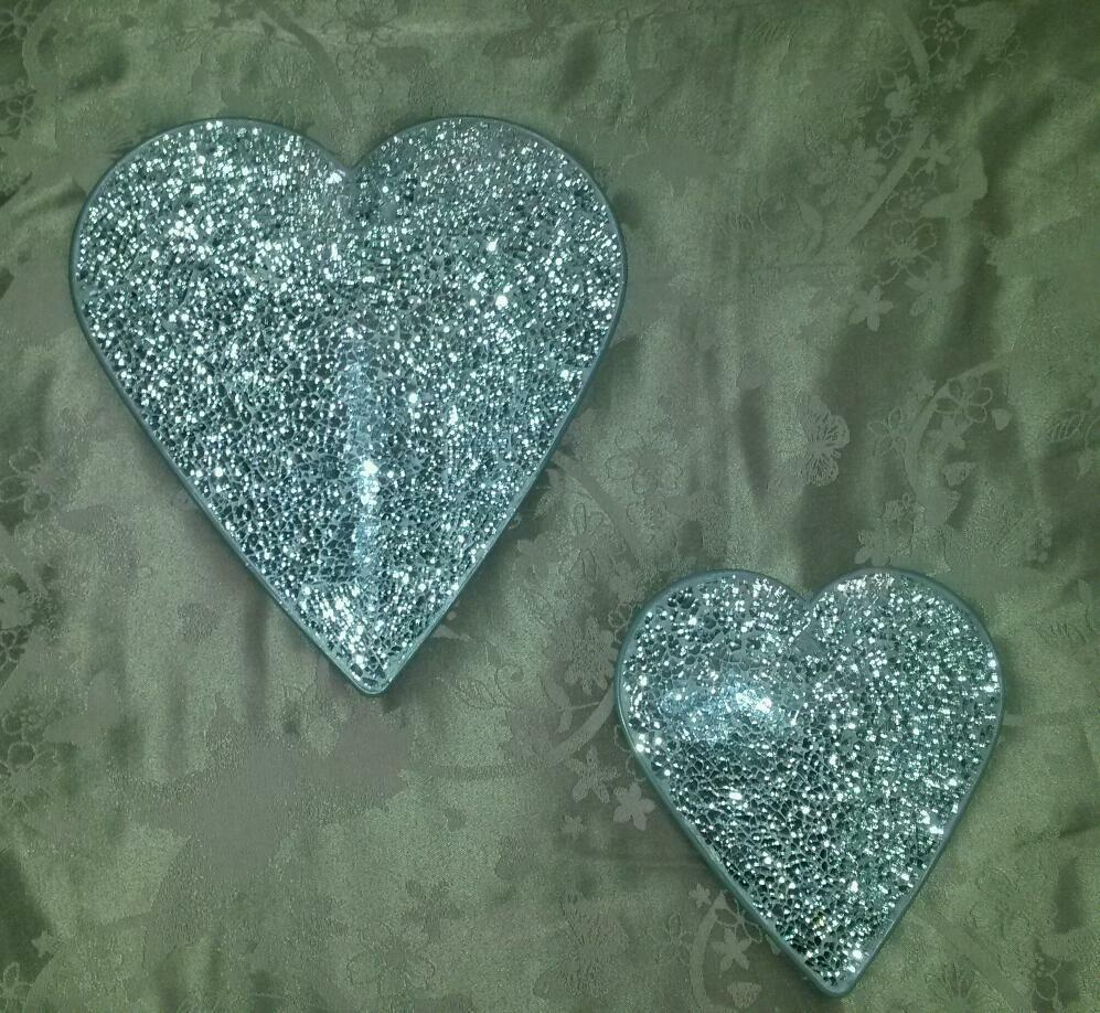 Silver Crackle Effect Mosaic Heart Wall Hanging In Long