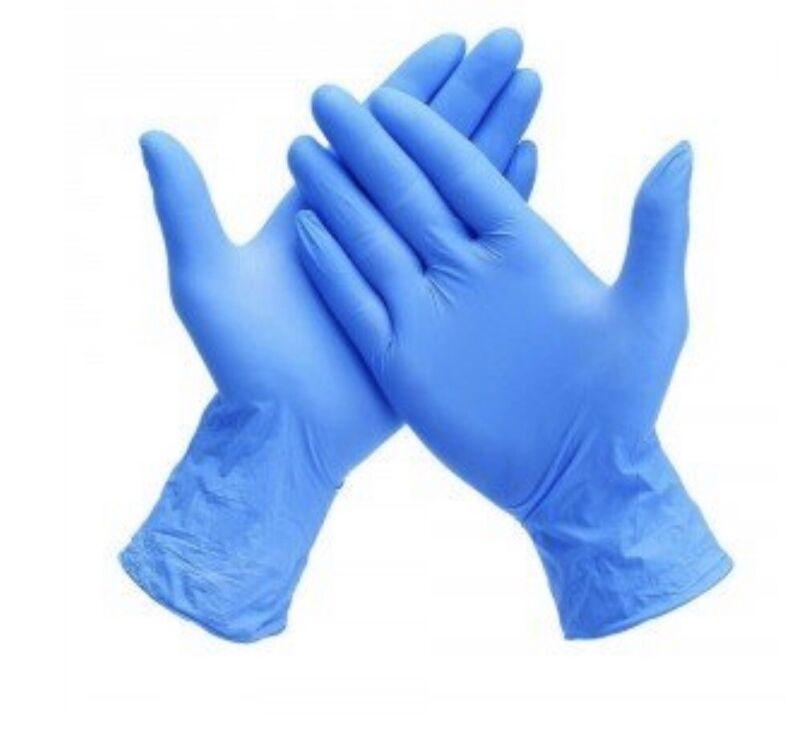 Ambitex Powder Free Blue Nitrile Gloves, Size Large L