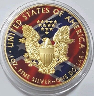2018 $1 US FLAG CONFEDERATE EAGLE 1 Oz Silver Coin, 24Kt Gold Gilded. ()