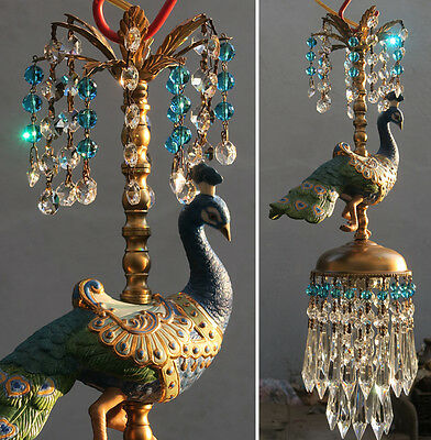 Peacock Bird jeweled porcelain Carousel Lamp ceiling Chandelier Vintage beads