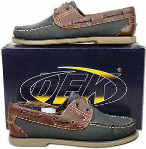 Mens-New-Blue-Nubuck-Leather-Lace-Up-Moccasin-Boat-Shoes-Size-6-7-8-9-10-11-12