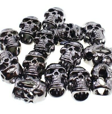 Wholesale Paracord Supplies (Lot 100 S Gun metal Skull Bead Paracord Jewelry Leather DIY Wholesale)