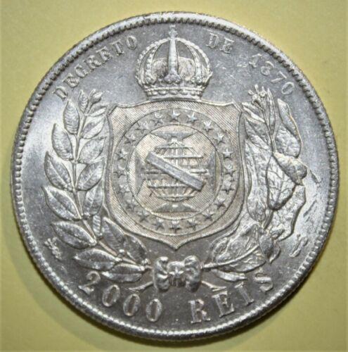 Brazil - Brasil 2000 Reis 1889 Brilliant Uncirculated Silver Coin - Nice!!!