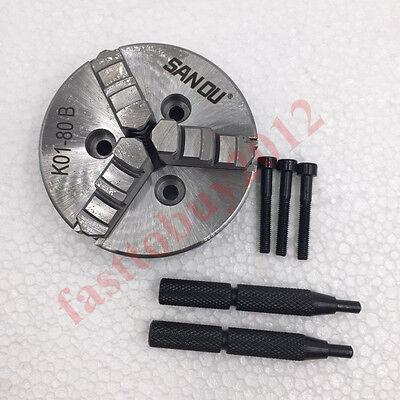 3 Inch Lathe Chuck 80mm 3 Jaw Manaul Self-centering M5 Mini Wood Chuck K01-80b